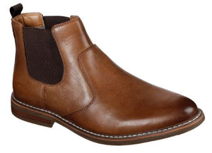 SKECHERS MENS BREGMAN-MORAGO CLASSIC FIT CHELSEA BOOT- TAN