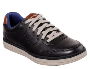 SKECHERS MENS HESTON- AVANO CLASSIC FIT SHOE- BLACK
