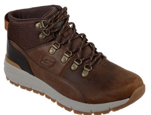 SKECHERS MENS VOLERO - MERIX RELAXED FIT LEATHER BOOT- DARK BROWN