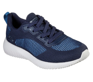 SKECHERS WOMEN'S BOB SQUAD- TURN UP TRAINER- NAVY/BLUE