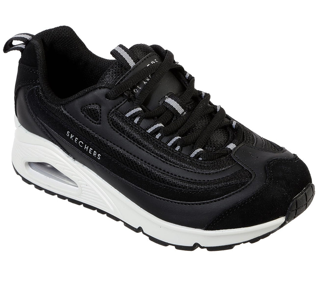 SKECHERS WOMEN'S UNO-ROUNDABOUT TRAINER- BLACK