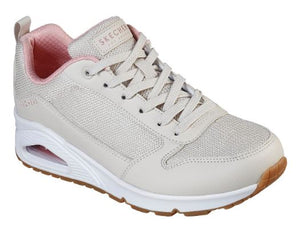 SKECHERS WOMENS UNO- INSIDE MATTERS LACE UP TRAINER- NATURAL