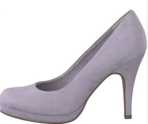 TAMARIS LADIES HIGH HEELED PLATFORM COURT SHOE - LAVENDER
