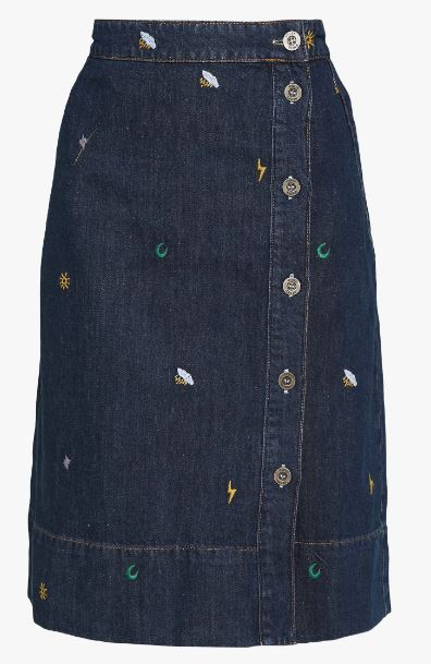 WHITE STUFF WOMENS TINT EMBROIDERED SKIRT - DARK DENIM