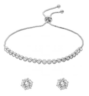 BELLE & BEAU CAPELLA CRYSTAL TOGGLE BRACELET GIFT SET - SILVER