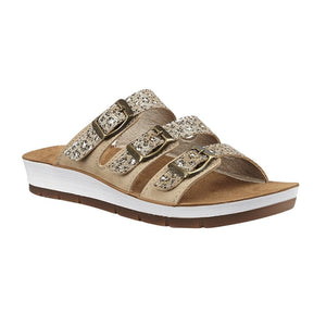 Lotus Women's Turin Mule Sandals - Gold & Leopard print