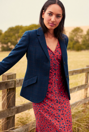 JOULES WOMENS MILFORD SINGLE BREASTED SHORTER TWEED JACKET - Navy Tweed
