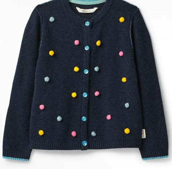 WHITESTUFF GIRLS PRETTY POPCORN CARDIGAN- CLASSIC NAVY