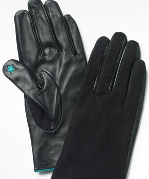 WHITE STUFF WOMENS LUCY LEATHER GLOVES- BLACK/MIDNIGHT NAVY