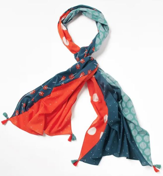 WHITE STUFF WOMENS CARRIE ORGANIC COTTON SCARF- CORAL RED PLAIN