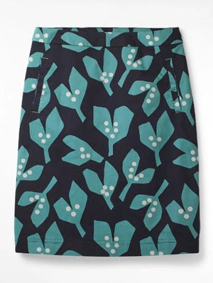 WHITESTUFF SHAPELY FLORAL SKIRT- INK NAVY PRINT