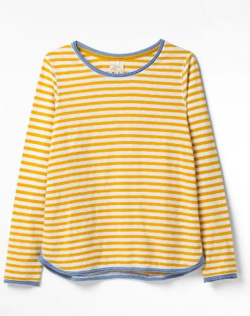 WHITE STUFF WOMENS CARLY FAIRTRADE JERSEY TEE- SUN YELLOW