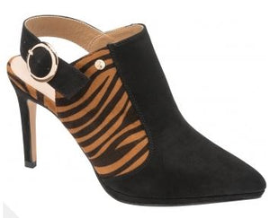 RAVEL WOMENS BAYAMO HEELED SHOE - BLACK/TAN ZEBRA PRINT