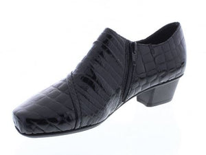 RIEKER LADIES PATENT SHOE WITH SIDE ZIP- BLACK CROCSKIN