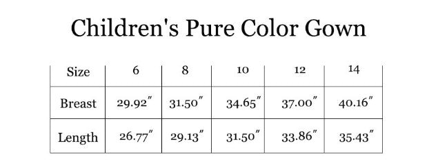 Size Chart For Flower Girl Robes