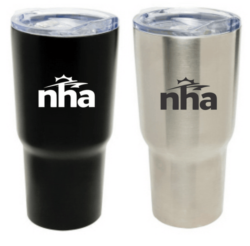 30oz stainless steel tumbler with spill proof lid and slider