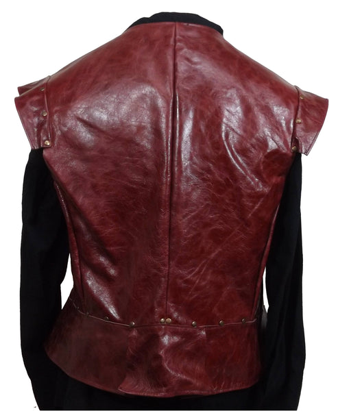 Distressed Dark Red Italian Leather Jerkin