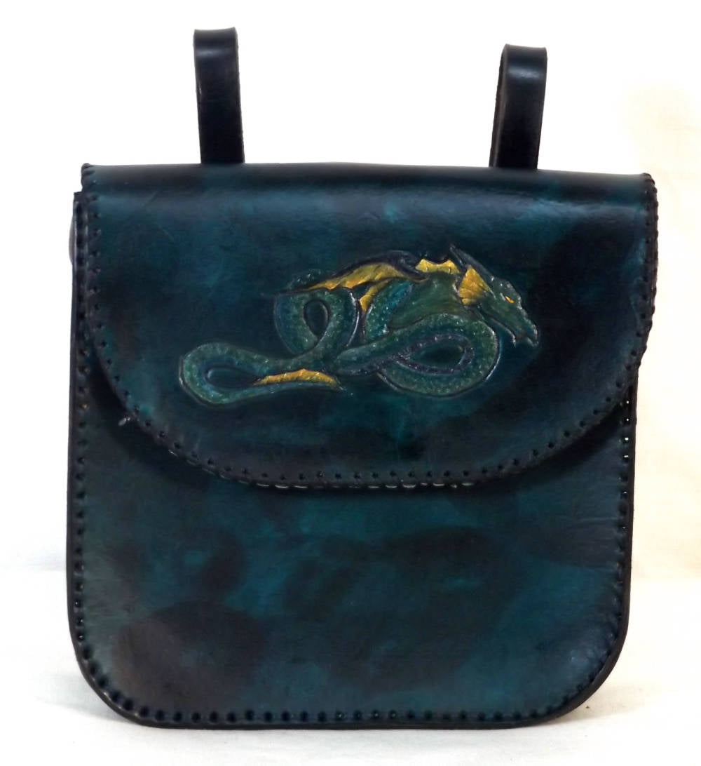 Leather belt pouch with teal and gold dragon