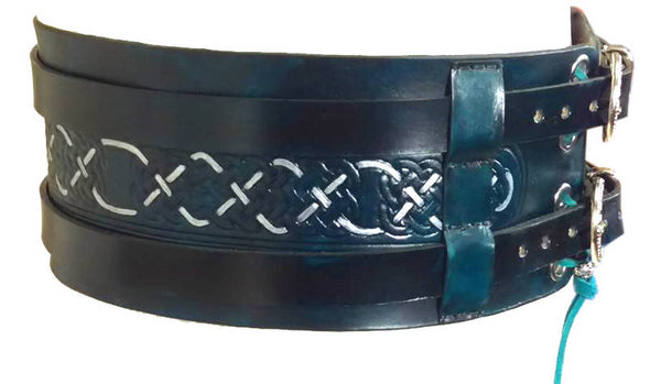 Celtic Tooled Wide Leather Hero Belt – Choose Colour