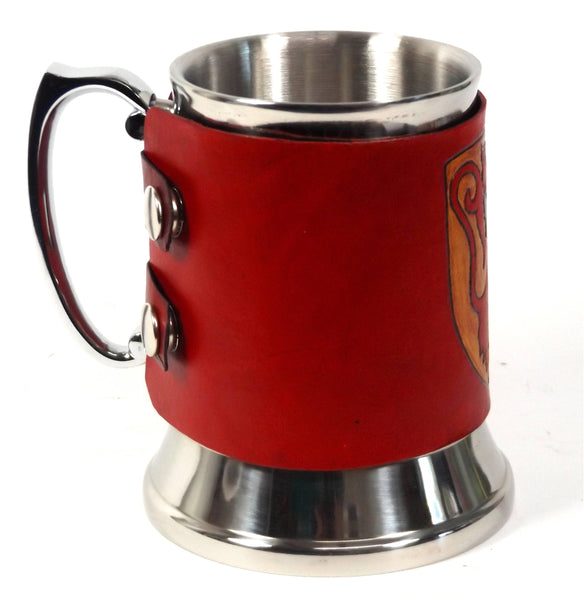 Medieval Lion Shield Leather Tankard Cover on Tankard