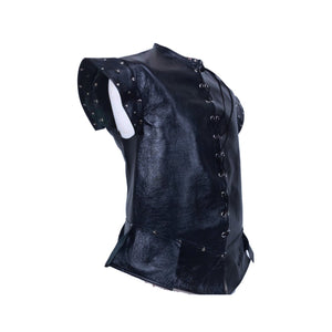 Ready to Ship - Italian Leather Jerkin with Silver Stars - Midnight Blue - Medieval Doublet Vest - Med-Large