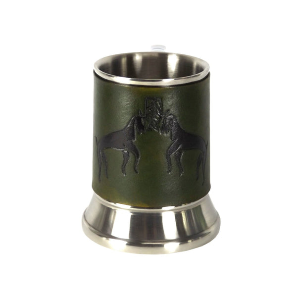 Celtic Stags Leather Tankard Cover on Tankard