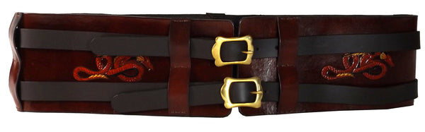 Dragon Motifs  Wide Leather Hero Double Belt