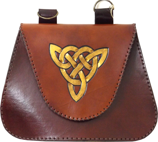 Celtic Triangle Leather Belt Pouch / Bag
