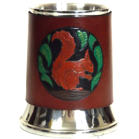 Red Squirrel Leather Tankard Cover on Tankard Hand Made LARP Made to Order