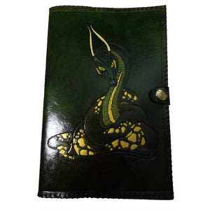 MADE TO ORDER Coiled Wyrm Dragon Leather Reusable Notebook Cover with A5 Sketchbook