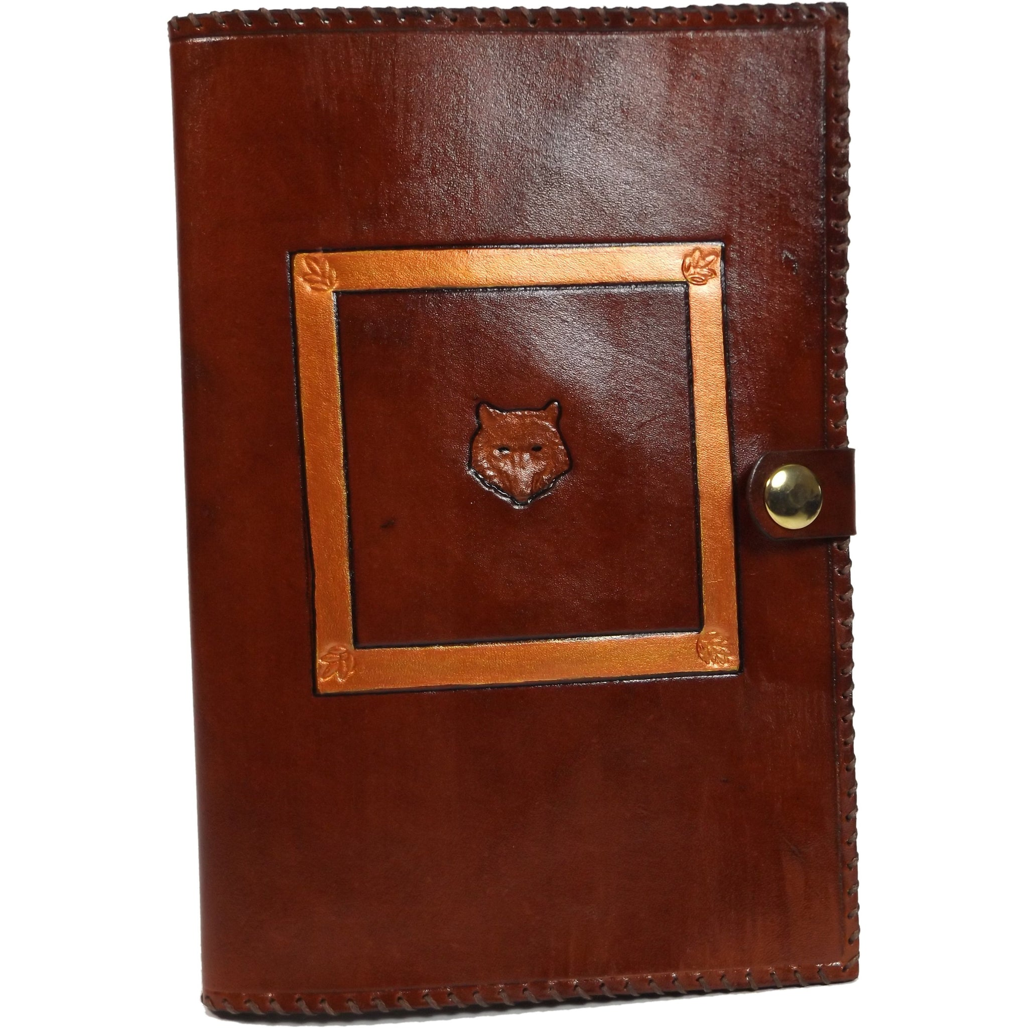 MADE TO ORDER Wolf's Head Leather Reusable Notebook Cover with A5 Sketchbook