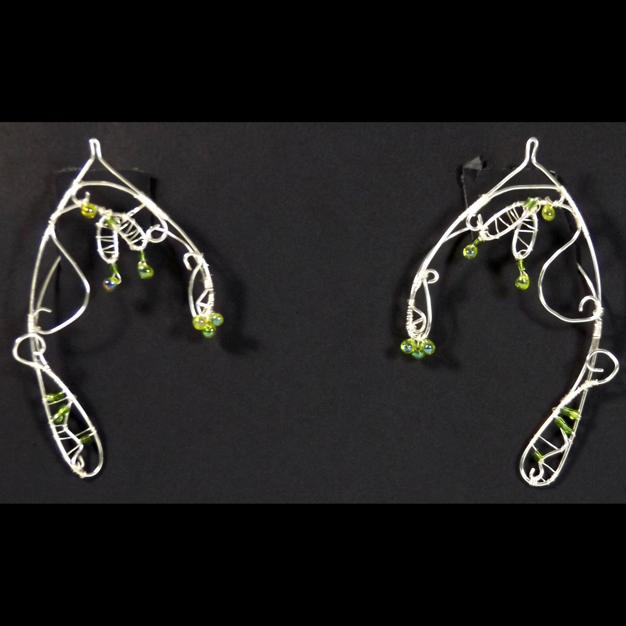 READY TO SHIP Wirework Elf Ears Green Crystals & Silvertone Wire #5