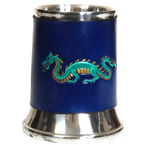 Dragon Leather Tankard Cover on Tankard Hand Made LARP Made to Order