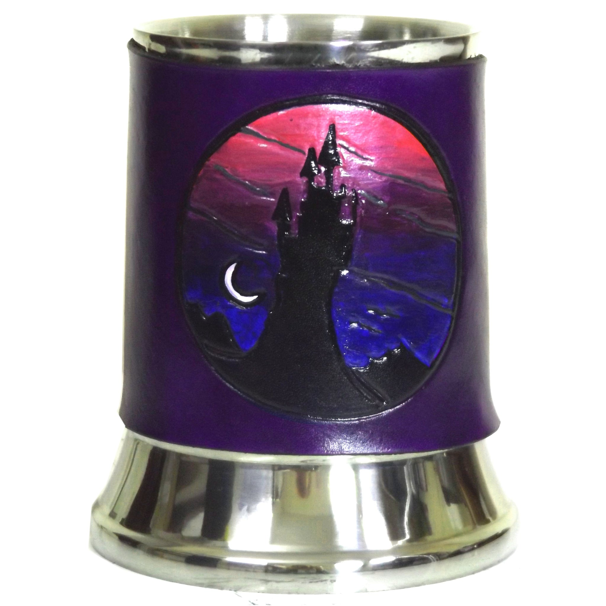 Twilight Castle Leather Tankard Cover on Tankard Hand Made LARP Made to Order