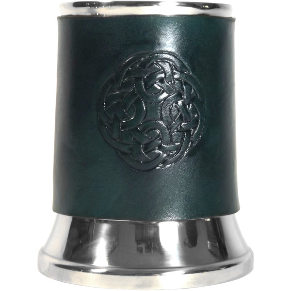 Celtic Knot Circle Leather Tankard Cover on Tankard Hand Made LARP Made to Order