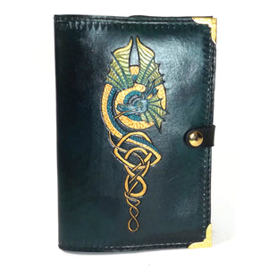 MADE TO ORDER Teal Dragon Leather Reusable Notebook Cover with A5 Sketchbook