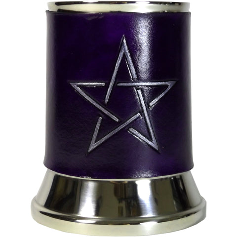 Pentagram Star Leather Tankard Cover on Tankard Hand Made LARP Made to Order