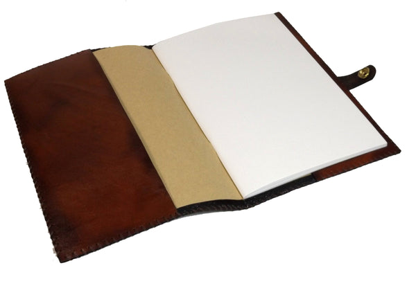 READY TO SHIP Brown Wolf Leather Reusable Notebook Cover with A5 Sketchbook