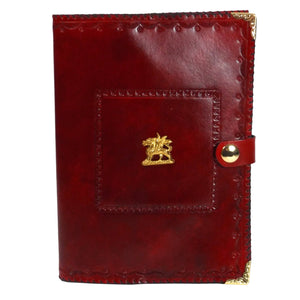 READY TO SHIP Red Dragon Leather Reusable Notebook Cover with A5 Sketchbook