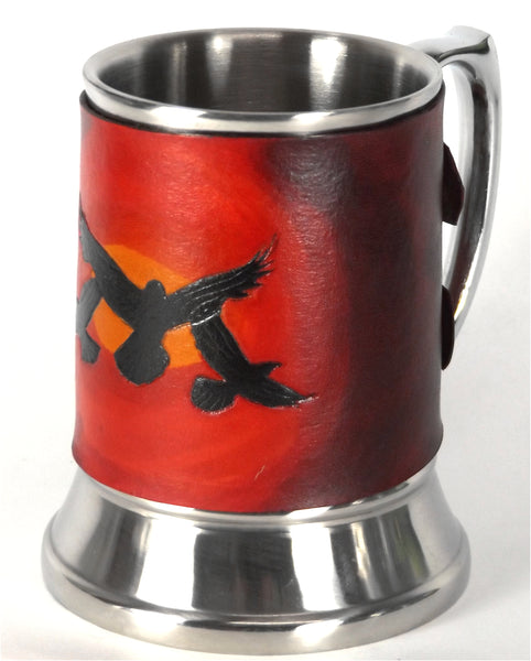 Sunset Ravens Leather Tankard Cover on Tankard
