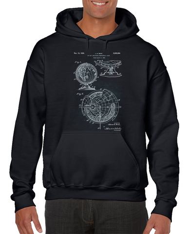 - Sun Ray Indicating Terrestrial Globe Patent Hoodie