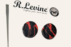 Black and Red Tiger Stripe Stud Earrings