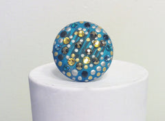 Blue and Gold Dot Ring