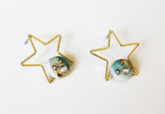 Gold and Aqua Star Earrings