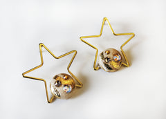Gold and Tan Star Earrings