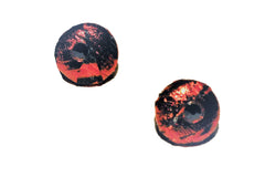 Red Metallic and Black Dot Stud Earrings