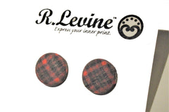 Red Plaid Stud Earrings
