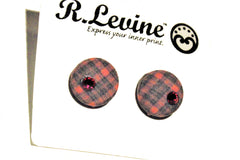 Red Plaid with Red Gem Stud Earrings