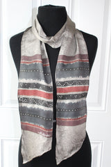 Hand Painted Spray Stripe Grey Silk Sash