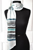 Hand Painted Spray Stripe Ice Blue Silk Sash